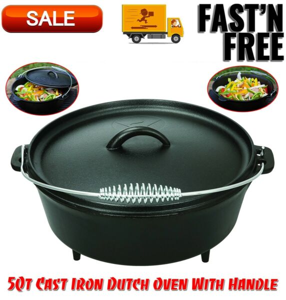 5 Qt Cast Iron Dutch Oven With Handle Kitchen Home amp; Outdoors Camping Cookware