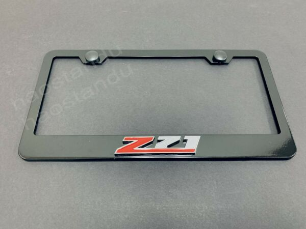 1x Z71 3D Emblem BLACK Stainless License Plate Frame RUST FREE Screw Cap