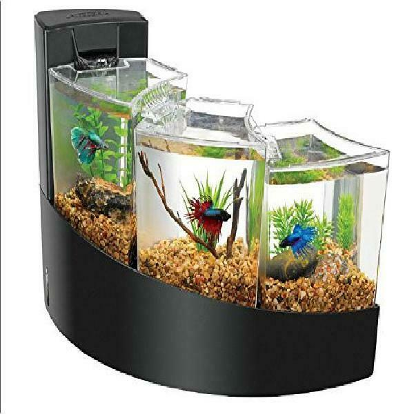 Aqueon Betta Falls Aquarium Three Tier Waterfall Bettas Fish Tank Black NEW $68.62