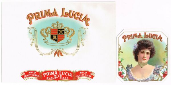 ORIGINAL CIGAR BOX LABEL VINTAGE PAIR C1910 PRIMA LUCIA IN OUT GIRL WITH FLOWERS
