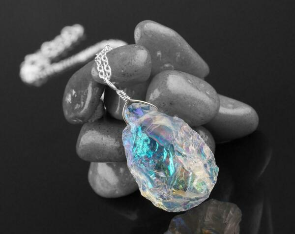 Natural Fire Ethiopian Raw Opal Pendant Necklace in 925 Sterling Silver $25.61