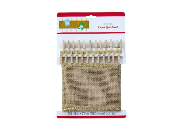 72quot; Holiday Burlap Card Garland with 24 Clips wedding shower graduation party