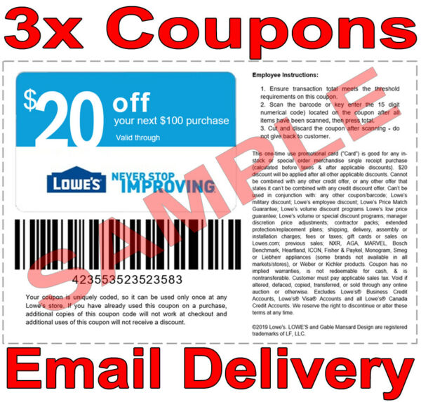 3× Lowes $20 OFF $100 FAST DELIVERY DISCOUNT-3COUPON INSTORE ONLY 𝐄𝐗𝐏 𝟖/𝟕