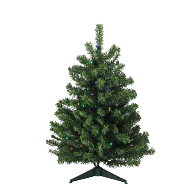 Northlight 3' LED Two-Tone Canadian Pine Artificial Christmas Tree -Multi Lights