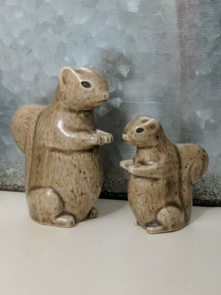 Miniature Squirrel Figurine Handmade Vintage Set of 2 Mommy and Baby