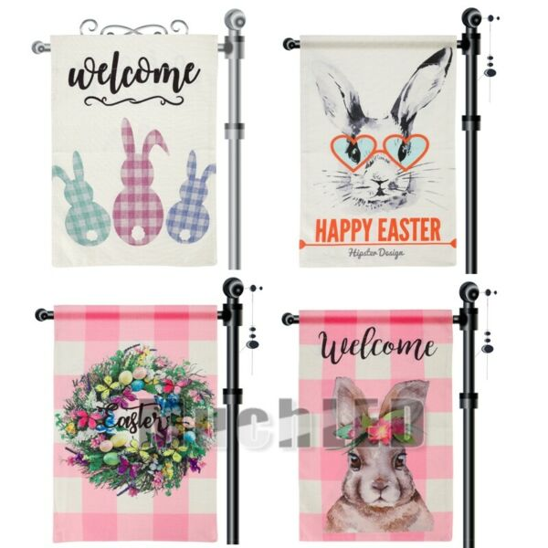Happy Easter Garden Flag Vertical Double Sided 12.5x18inch Burlap Yard Decor US