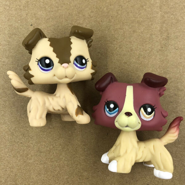 2x Pet Shop LPS Brown Pink Collie Dog #2210 #1262 Puppy Doll Collection Toy Rare