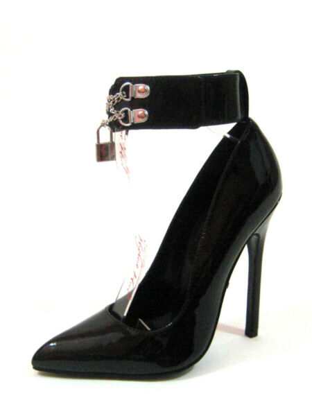 Highest Heel Womens 5quot; Pump W Ankle Cuff Pad Lock Black Patent PU Shoes $25.98