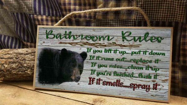 Black Bear Bathroom Rules Rustic Cabin Lodge 5quot; x 10quot; Bath SIGN Plaque