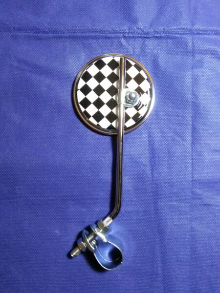Round Checkered Racing Flag Mirror Muscle Bike Style $30.00