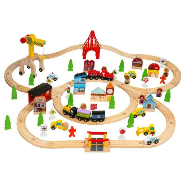 100Pcs Hand Crafted Wooden Train Set Crossing Railway Track Kids Children Toy US