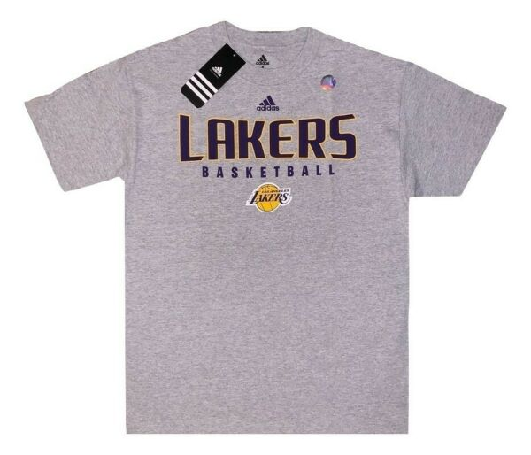 New Authentic Men's Adidas Lakers Basketball T-shirt Gray