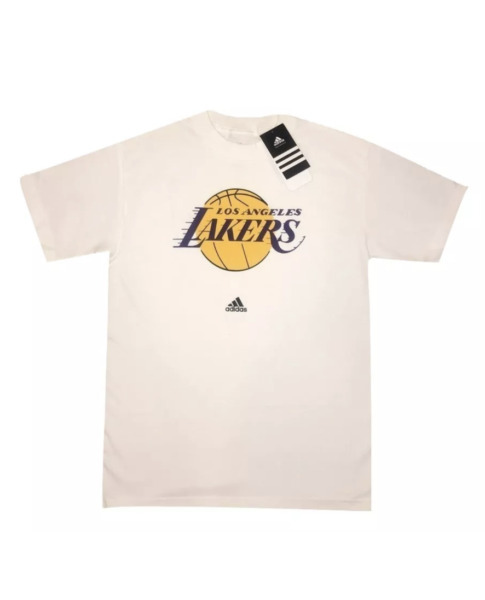 New Authentic Men's Adidas Lakers Basketball T-shirt White