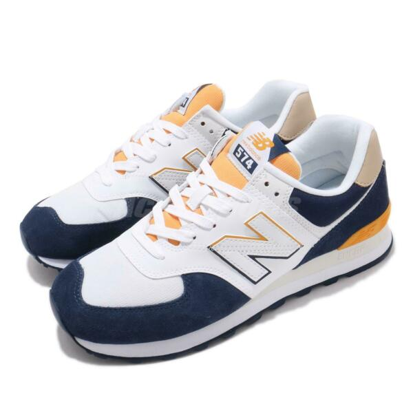 New Balance 574 White Navy Yellow Men Casual Lifestyle Shoes Sneakers ML574SUR D
