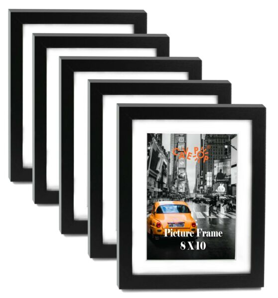 "Cavepop 8x10"" Black Wood Textured Picture Frames Set of 5"
