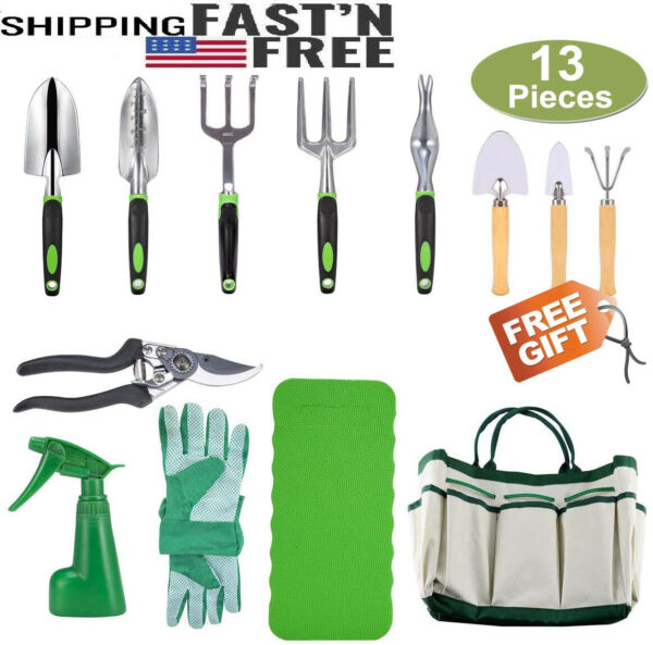 13 Piece Garden Tools Set Aluminum Alloy Gardening Tools Gifts with Storage Bag