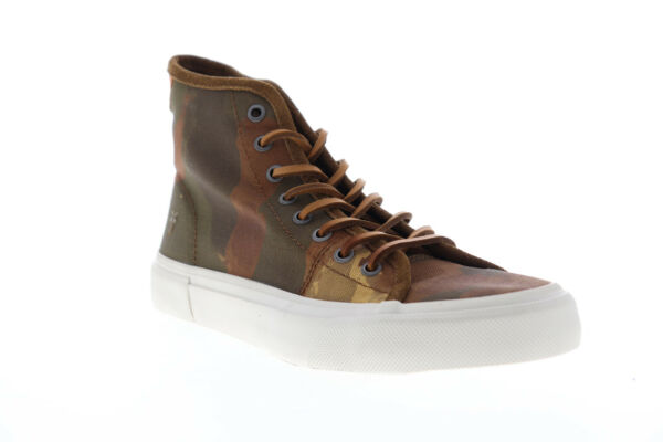 Frye Ludlow High 81490 Mens Brown Canvas Lace Up High Top Sneakers Shoes