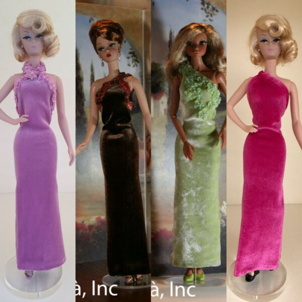 One-Shoulder Knit Gown & Black RC Pumps for 12-inch dolls - Choose from 7 colors