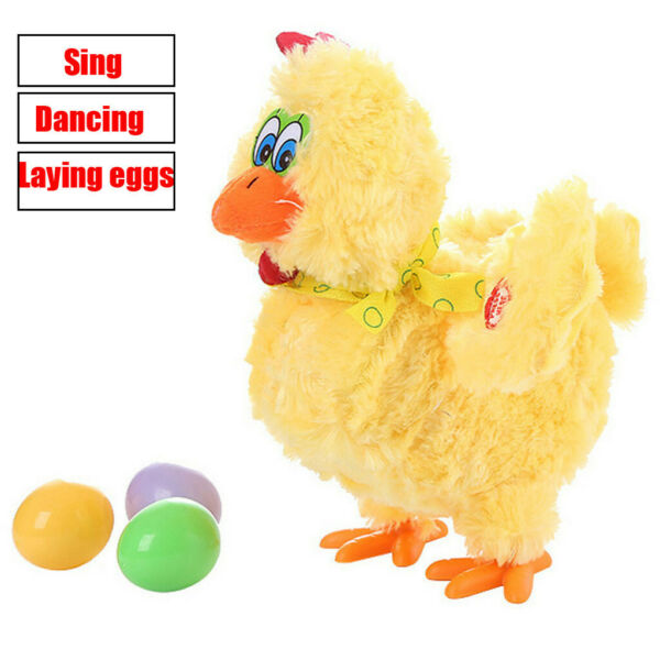 Fun Laying Eggs Chicken Plush Toy Electric Hen Musical Dancing Baby Kids Gifts