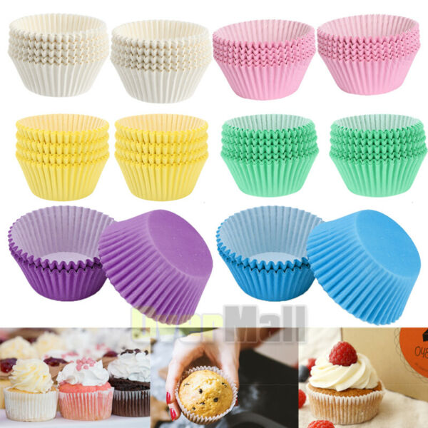 200 Pcs 6 Color Standard Cupcake Liners Greaseproof Paper Muffin Baking Cups