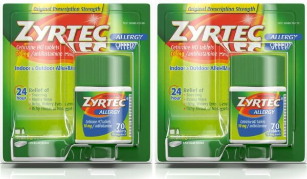 Pack-2 Zyrtec Allergy Tablets 10mg 70CT tablets with Expiration 11-2021