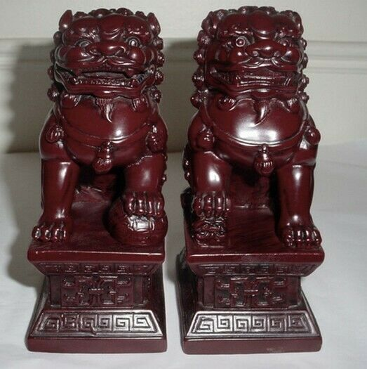 Matching Pair of Red Feng Shui Chinese Temple Door Guardian Foo Lion Dogs 6.5quot; $34.99