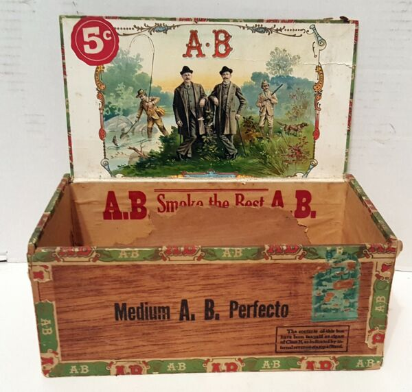VINTAGE ANDERSON BROS AB 5 CENT WOOD CIGAR BOX W FISHING HUNTING GRAPHICS LABELS