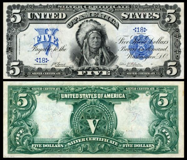 Reproduction 1899 INDIAN CHIEF $5 Silver Cert US Banknote, Large size, HIGH RES