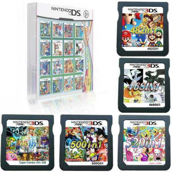 NEW 520/500/482/468/208 in 1 Video Games Cards Cartridges For NDS NDSL