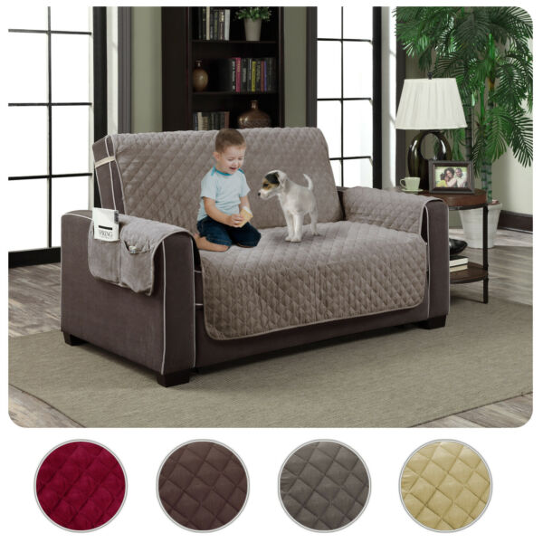 Slipcover Microfiber Reversible Pet Dog Couch Protector Cover Love Seat $18.99
