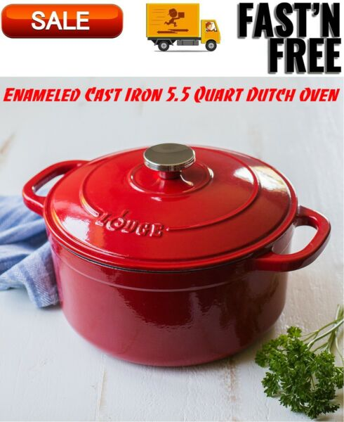 Lodge Enameled Cast Iron 5.5 Quart Dutch Oven Cookware Pots amp; Pans Red Color