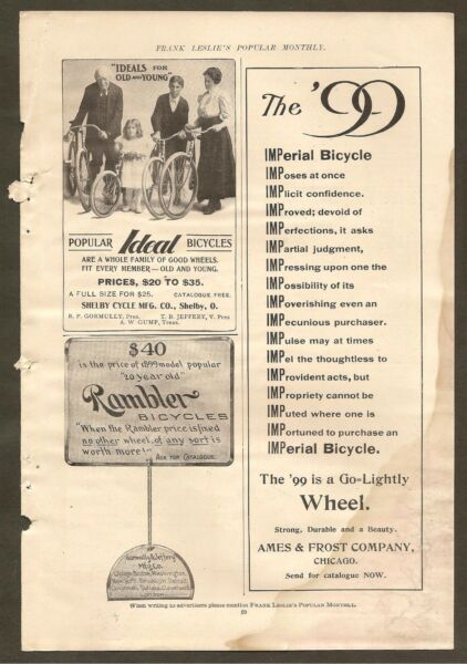 VINTAGE ADS FOR RAMBLER IDEAL amp; IMPERIAL BICYCLES
