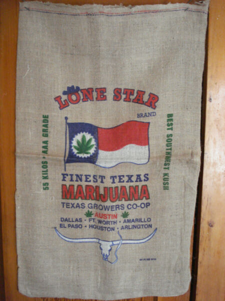 Texas Lone Star Brand Cannabis Marijuana Southwest Kush Burlap Bag