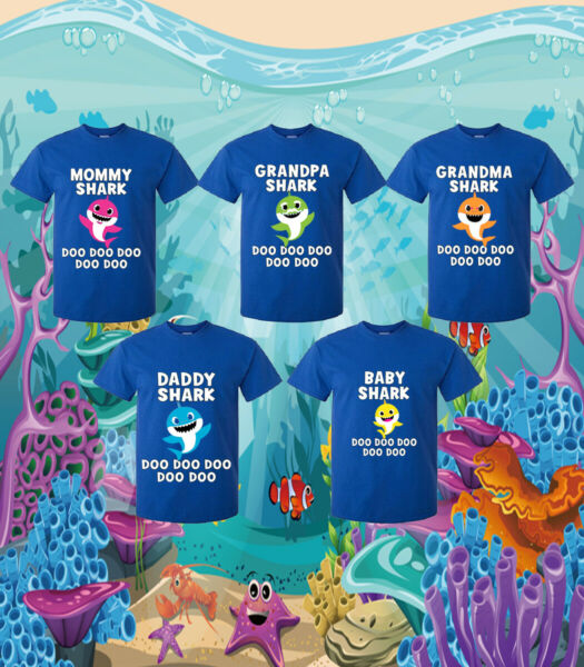 Shark Family & Group T-Shirt - DaddyMommyBaby Shark Shirt Youth and Adult