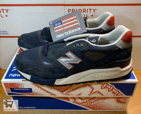 J Crew X New Balance 998 M998JC1 Navy Suede Sneakers Men Sz 11 Made In USA NEW