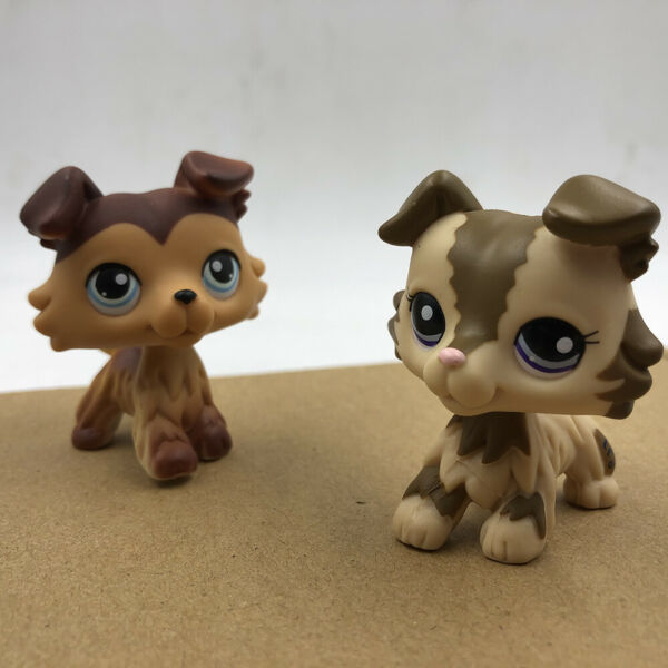 2x Pet Shop LPS Brown Pink Collie Dog #2210 #58 Puppy Doll Collection Toy Rare