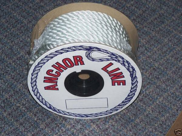 Anchor Line 3 8#x27;#x27; x 100#x27; Nylon Twisted Premium Rope Thimble Boat Anchoring New