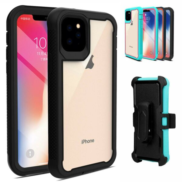For iPhone 11 Pro Max 12 Pro 11 Case Hybrid Heavy Duty Clear Belt Clip Cover $6.88