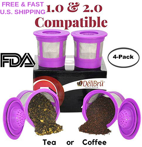 4 KCUPS Universal Refillable BPA Free FDA Approved For 1.0 amp; 2.0 KEURIG FILTER