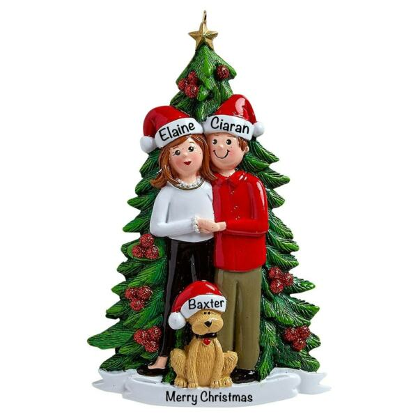 Christmas Couple with Dog Personalized Ornament $16.99