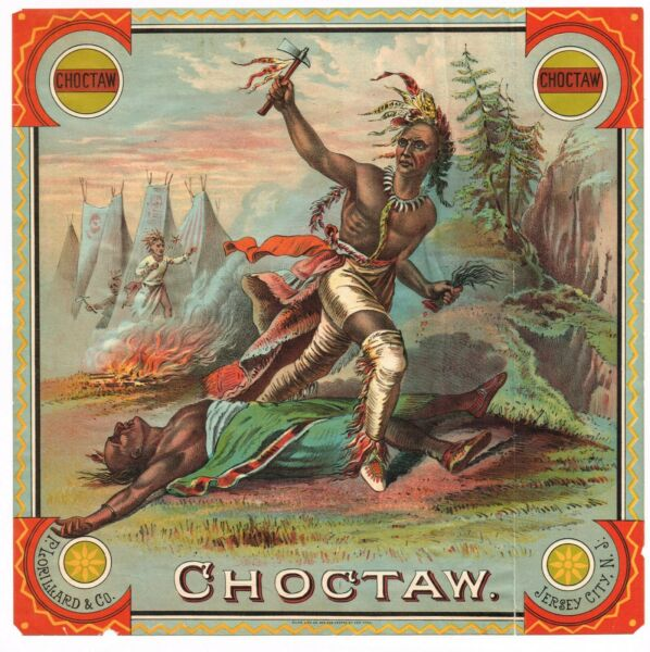 ADVERTISING PLUG TOBACCO LABEL CADDY 1870S INDIAN CHOCTAW JERSEY CITY NEW JERSEY