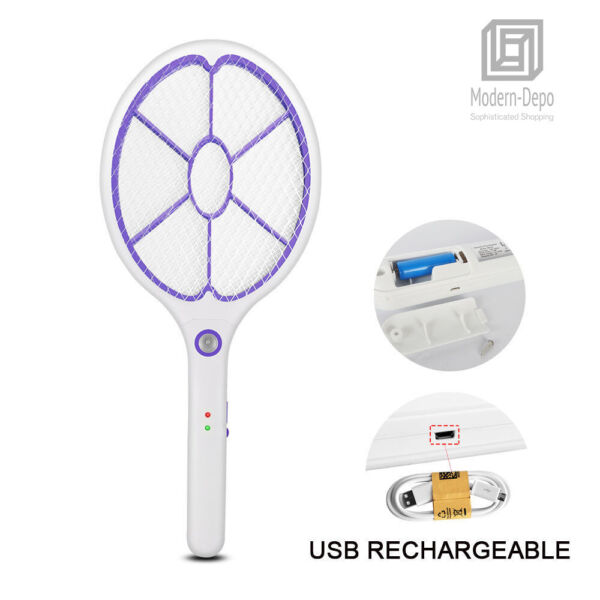 Rechargeable High voltage Electric Fly Swatter Mosquito Racket Bug Zapper Killer $9.99