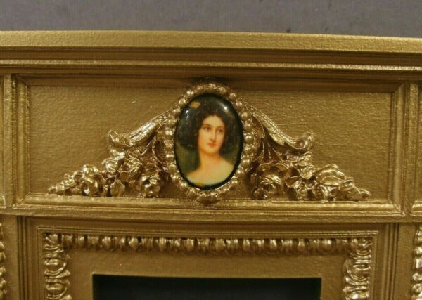 CARVED FIREPLACE Antique Gold Vintage Dollhouse Room Box 1 12 scale