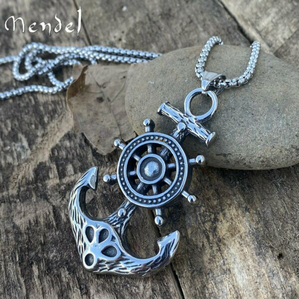 MENDEL Large Mens Stainless Steel Nautical Ship Wheel Anchor Pendant Necklace $12.99