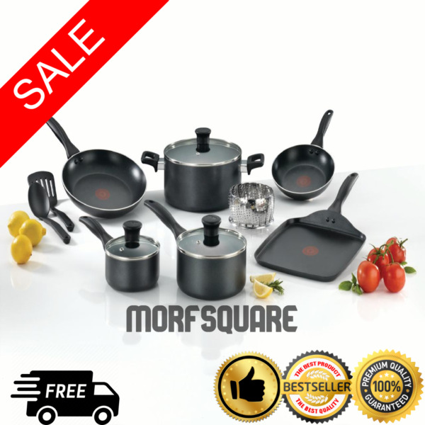 T-Fal Cookware Set 12-Piece Easy Care Non-Stick Home Cook Kitchen Grey NEW