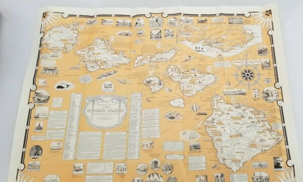 1960 Ernest Dudley Chase Pictoral Map Of The Hawaiian Islands 50th State $395.00