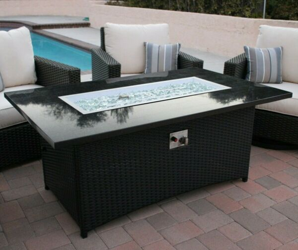 EV Fires 58quot; Granite Propane Outdoor Fire Pit Table Fire Glass Cover Included