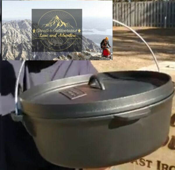 "12"" Gourmet Cast Iron Dutch Oven Camp Cooking"