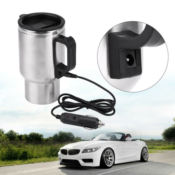 12V 450ml In-Car Electric Heatable Cup Coffee Tea Cup Mug For Travel  Camping RV