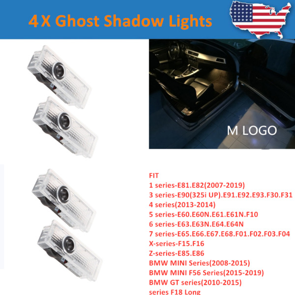 4X LED Car Door Courtesy Laser Ghost Shadow Projector Lights Lamps Fit For BMW
